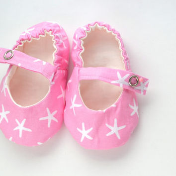 Pink Starfish Baby Girl Shoes, Preppy Baby Mary Jane Shoes with Ivory Lining, Toddler Mary Janes, Baby Ballet Flats