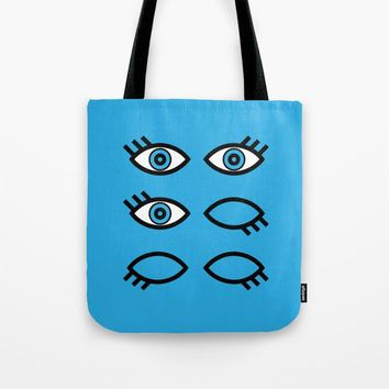 Blue Eyes Tote Bag by EM Design