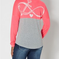 Love Anchor Color Split Top