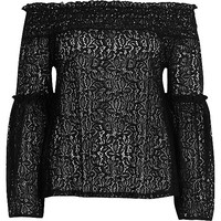 Black lace frill sleeve bardot top - bardot / cold shoulder tops - tops - women