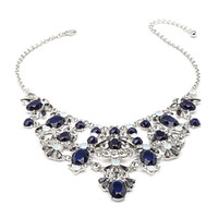 FOREVER 21 Faux Gemstone Statement Necklace Navy/Clear One