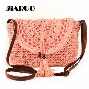 2017 Summer Bohemia Beach Bag Women Straw Messenger bags Female Knitting Shoulder Crossbody Bag Hollow Tassel Bag Lady Handbag