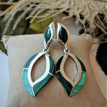 Unique Vintage Native American Signed Sterling Malachite Inlay Post Dangle Earrings