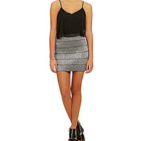 Teeze Me Popover Bandage Skirt Dress - Black/Silver