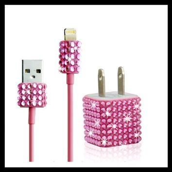 2pc Set Wall Charger + Cable for Iphone 5, 5s - Rhinestone Diamond Bling (Hot Pink)