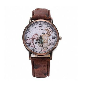 vintage world map pattern leather strap band watch 2