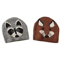 Recycled Cotton Animal Hat- Raccoon and Fox