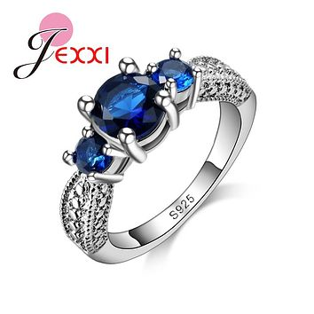 Jemmin Mosaic Three Porcelain Royal Blue Crystal Rings For Women 925 Sterling Silver Rings New Fashion Exquisite Design