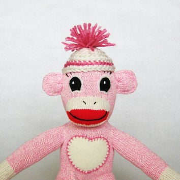 Pink sock monkey girl Julia Rockford Red Heel stuffed sock animal toy crochet hat with pompom and felt heart ooak baby shower gift for girl