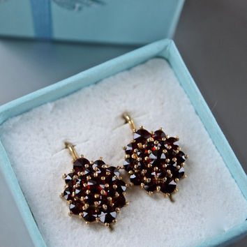 Bohemian Czech Genuine Antique Sterling Silver Gold Vermeil Garnet Cluster Earrings