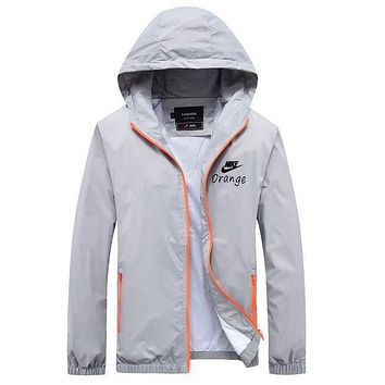 Nike Women Men Cardigan Jacket Coat Windbreaker Grey