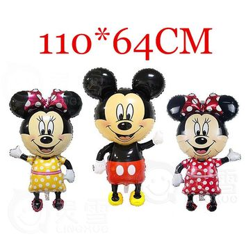 10PC Large 110*64cm Minnie Mickey foil balloons red Bowknot standing Polka dot wedding birthday party decor supplies globos