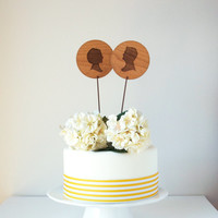Custom Silhouette Cake Topper make from wood with His and Hers Silhouettes created from your pictures