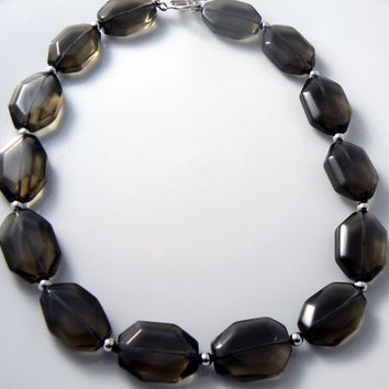 Chunky Glass Smokey Topaz Choker Necklace