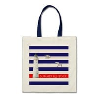 Hygge blue white nautical stripes and lighthouse tote bag