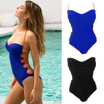Sexy One-Piece Women Bodysuit Solid Color Backless Bra Set Bandage Cut Out Summer Beach Bathing Suit 2018 New Women Beach Wear