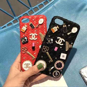 """""""Chanel"""" iPhone case 4.7 5.5 6plus 7 red Color diamond I"""