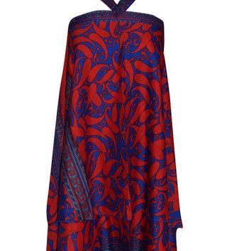 Mogul Wrap Skirt Blue/Red PREMIUM Silk Sari Reversible Skirt Multi Wear Dress ... ...