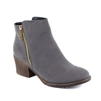 Women's Pointed Toe Low Stacked Chunky Heels Ankle Booties