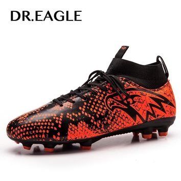 DR.EAGLE FG/AG Soccer Shoes Men Spike Football Boots High Ankle Cleats Sneakers Outdoor High Soccer Shoes EUR Size 38-45