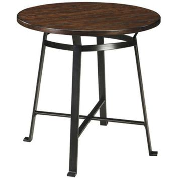 D307-12 Challiman Round Dining Room Bar Table - Rustic Brown - Free Shipping!