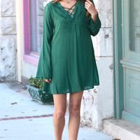 Strappy Neck + Embroidered Dress {Dark Green}