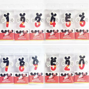ac NOOW2 Birthday Candle Mickey Minnie Candle 0 1 2 3 4 5 6 7 8 9  Anniversary Cake Numbers Age Candle Party Supplies Decoration