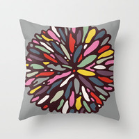 Retro Dahlia Throw Pillow by Beth Thompson | Society6