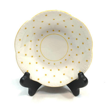 Shelley Small Cereal Bowl, Dainty Yellow Polka Dot, Candy / Nuts Dish, Jewelry Trinket Dish, English Bone China, 1940s 1960s, Vintage