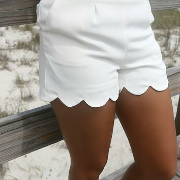 Cannes Ivory High Waist Scallop Shorts