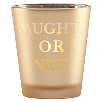 Golden Holiday Naughty or Nice Votive by Lenox