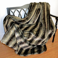 "Faux Fur Throw, Chinchilla Gray Faux Fur / Fake Fur Blanket Throw 60"" x 72"", Ready to Ship"