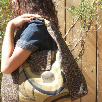 Leopard and Abstract  Black and Tan Large Shoulder Bag Slouchy Hobo Sac with Snap Closure