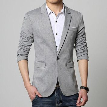 ONETOW Mens Korea Slim Fit Fashion Blazers Suit Jacket Male CasualPlus size M-5XL Coat Wedding dress Black Silver Beige Wine Red