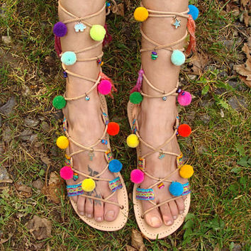 """Summer Beach Party Sandals, Gladiator Greek Leather Sandals, Boho, hippie, pom pom sandals, colorful flat shoes, turquoise gold, """"Palava"""""""