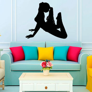 Woman with a Ball Fitness Pose Exersice Gym Sport People Decal Vinyl Sticker Decor Home Interior Design Art Murals M760