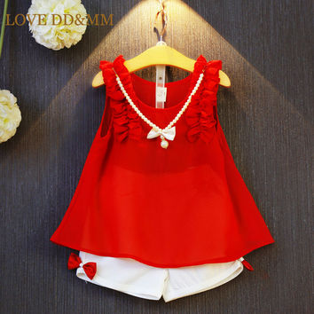 Girls Clothing Sets 2017 New Summer Girls Clothes Sleeveless Chiffon Necklace Tops + Shorts Suits Kids Clothes