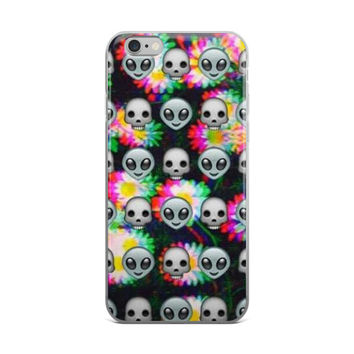 Alien Emoji Collage Tie Dye Sunflower Cool Trippy Teen Girls iPhone 4 4s 5 5s 5C 6 6s 6 Plus 6s Plus 7 & 7 Plus Case