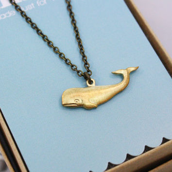 Brass Whale Necklace
