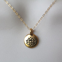 Gold Lotus Necklace, Lotus Blossom Disc Necklace, Lotus Flower Jewelry, Dainty Lotus Blossom Necklace, Gold Jewelry, Gifts for Her