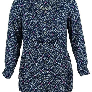 Style & Co. Women's Animal/Geo Print Pintucked Blouse