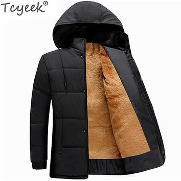 Tcyeek 2017 Winter Jacket Men Thick Warm Outerwear Parkas Hombre Casual Hooded Loose Black Jaquetas Masculina Inverno CJ244
