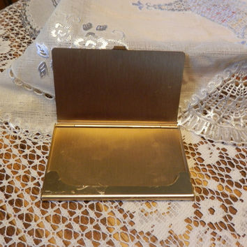 Vintage Brass Business Card Holder Travel Compact Monogram Personalize Initials Gift Engrave Advertising