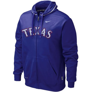 Nike Texas Rangers KO Wordmark Full Zip Performance Hoodie - Royal Blue