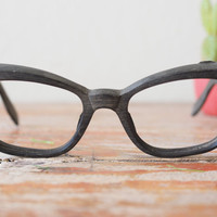 Vintage Cat Eye Frame Eyeglasses 1960's Made in Italy By Swank Great Wood grain Texture