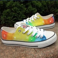 MP Rainbow Color Stars Pattern Hand Painted Canvas Sneakers 052828 ADP 0617