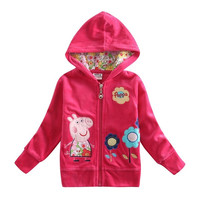 children peppa pig clothing sets girls outerwear 2015 hoodies coat  (Size: 18-24m, Color: Fuchsia) = 1931615684
