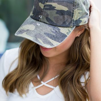 Distressed Camo Baseball Hat