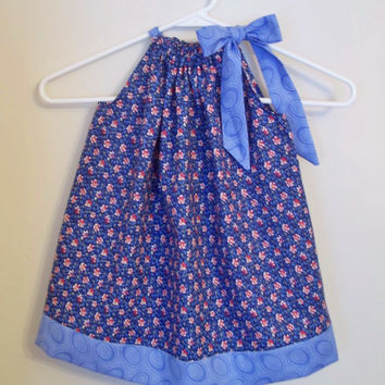 CLEARANCE - Pillowcase Dress - Blue Floral - Size 2 - Ready to Ship