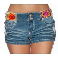 Dollhouse Premium Juniors Crochet Waistband Denim Shorts